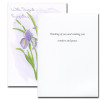 Inside of Iris Sympathy Card reads: Thinking you and wishing you comfort and peace