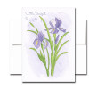 Blank Sympathy Card: Iris. Hand-painted watercolor illustration.