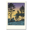 "Saturn Press All Occasion Card ""Twilight"" Cover shows a wooded river bank night with a starry evening sky that fades to light green."
