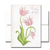 Thinking of You Note Card features hand painted watercolor tulips. Blank inside