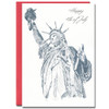 July 4th Lady Liberty has a line drawing of the Statue of Liberty and the greeting, Happy Fourth of July