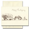 Cover of Thanksgiving Card - Hayfield features a line drawing of a farmer and his horse harvesting hay