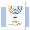 Hanukkah Card - Bright Lights. Cover shows an illustration of a menorah and the words Happy Hanukkah