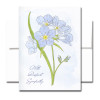 Sympathy Card: Forget-Me-Not Cover has a watercolor illustration and the words With Deepest Sympathy