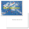 "Cover of Business Birthday Card Flying balloons showing many multi-colored balloons flying high into a blue sky with the words ""Happy Birthday"" in big yellow letters. Inside of business birthday card has a white background and the words ""May All Your Wishes Come True"" in black text"