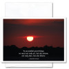 """Congratulations Card- Great Things cover shows photo of sunset in deep reds with the Anatole France quote """"To accomplish great things we must not only act, but also dream; not only plan but also believe"""""""