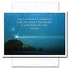Quotation Card shows a lighthouse against a starry sky with the quote: Hope lies in dreams, in imagination, and in the courage of those who dare to make dreams into reality. – Jonas Salk