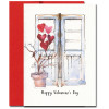 Special Day Valentine Card shows a bouquet of heart-shaped balloons tied to a small winter tree in front of a doorway