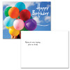 "Birthday postcard with photo of person holding a bunch of bright balloons against a blue sky accompanied by the words Happy Birthday in white.  Flip side text has the words ""Wishing you every happiness today and always!"".  12 of this birthday postcard style per box"