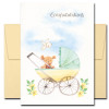 Baby congratulations card has a colorful pram with a teddy bear and the word Congratulations on the cover