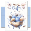 Cover of Easter Eggs card features blue and brown eggs, flowers and delicate heritage breed chicken feathers