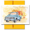 Bumper Crop Thanksgiving card features a pickup loaded with out-sized produce