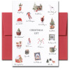Christmas List Holiday card has small images and descriptions of traditional Christmas activities