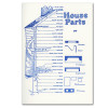 House Parts letterpress card showing diagram of house and the parts that go into building it.