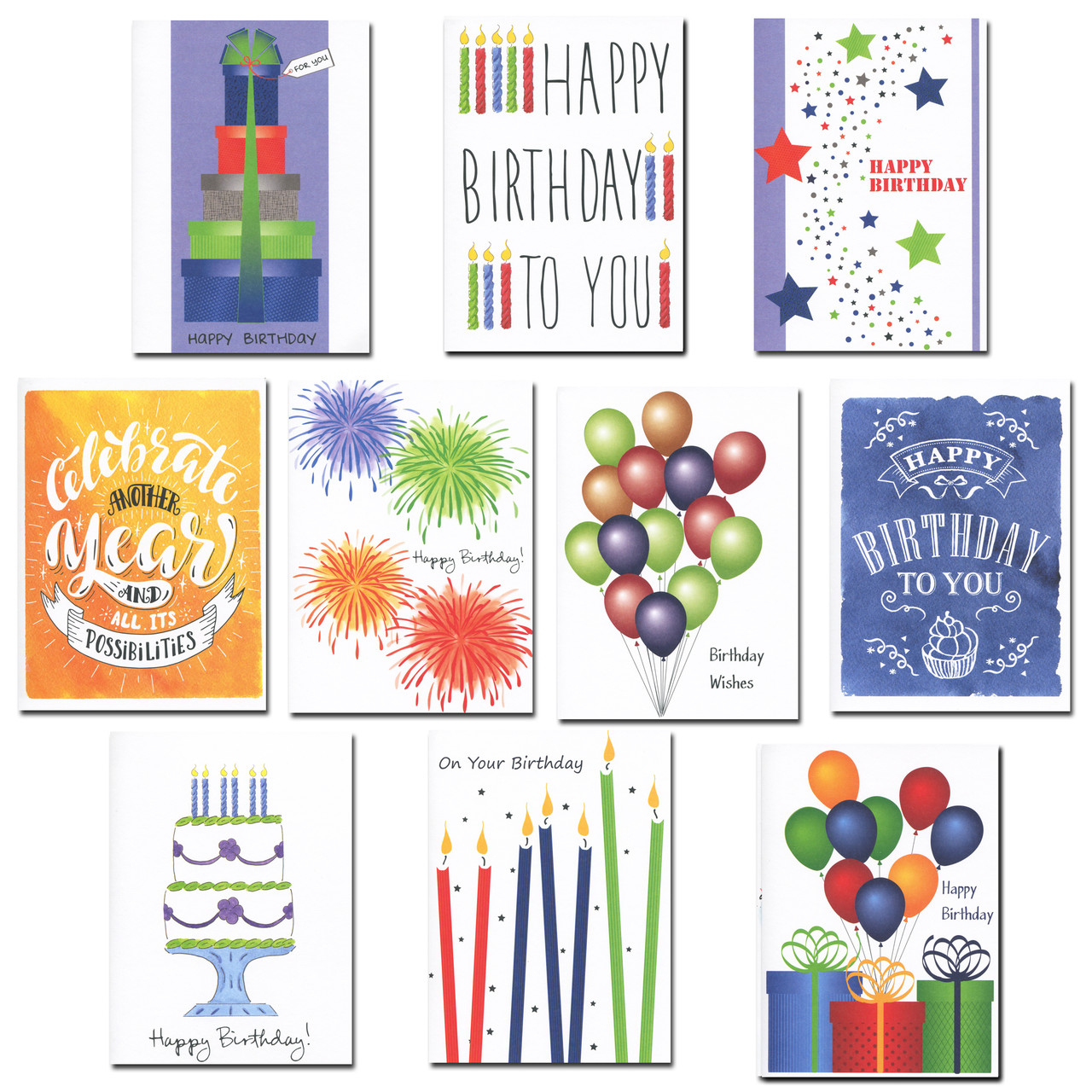 Boxed Birthday Cards - Birthday Brights  Assortment has 30 cards, 3 each of 10 different styles