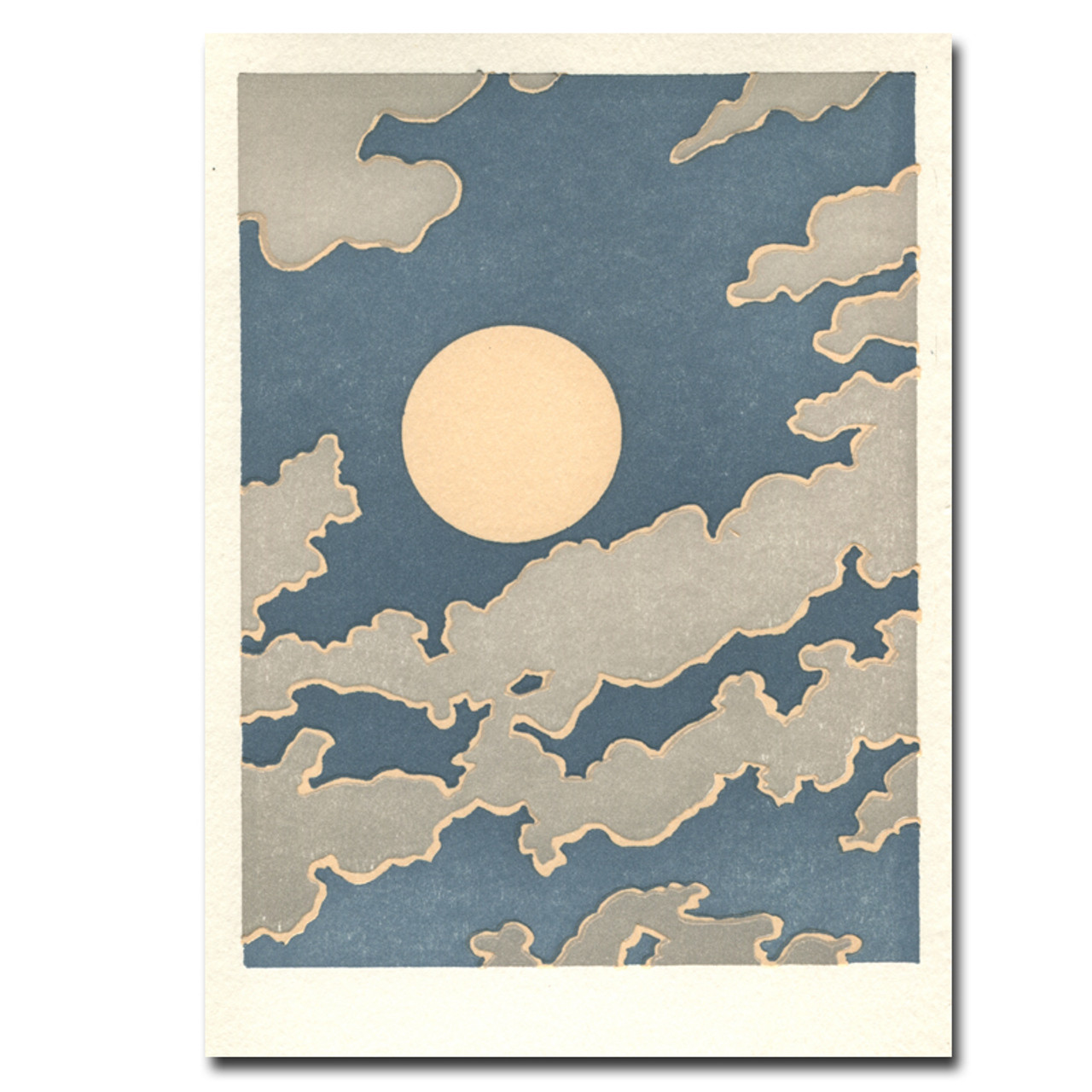 Saturn Press letterpress card Partly Cloudy shows the moon against a backdrop of clouds