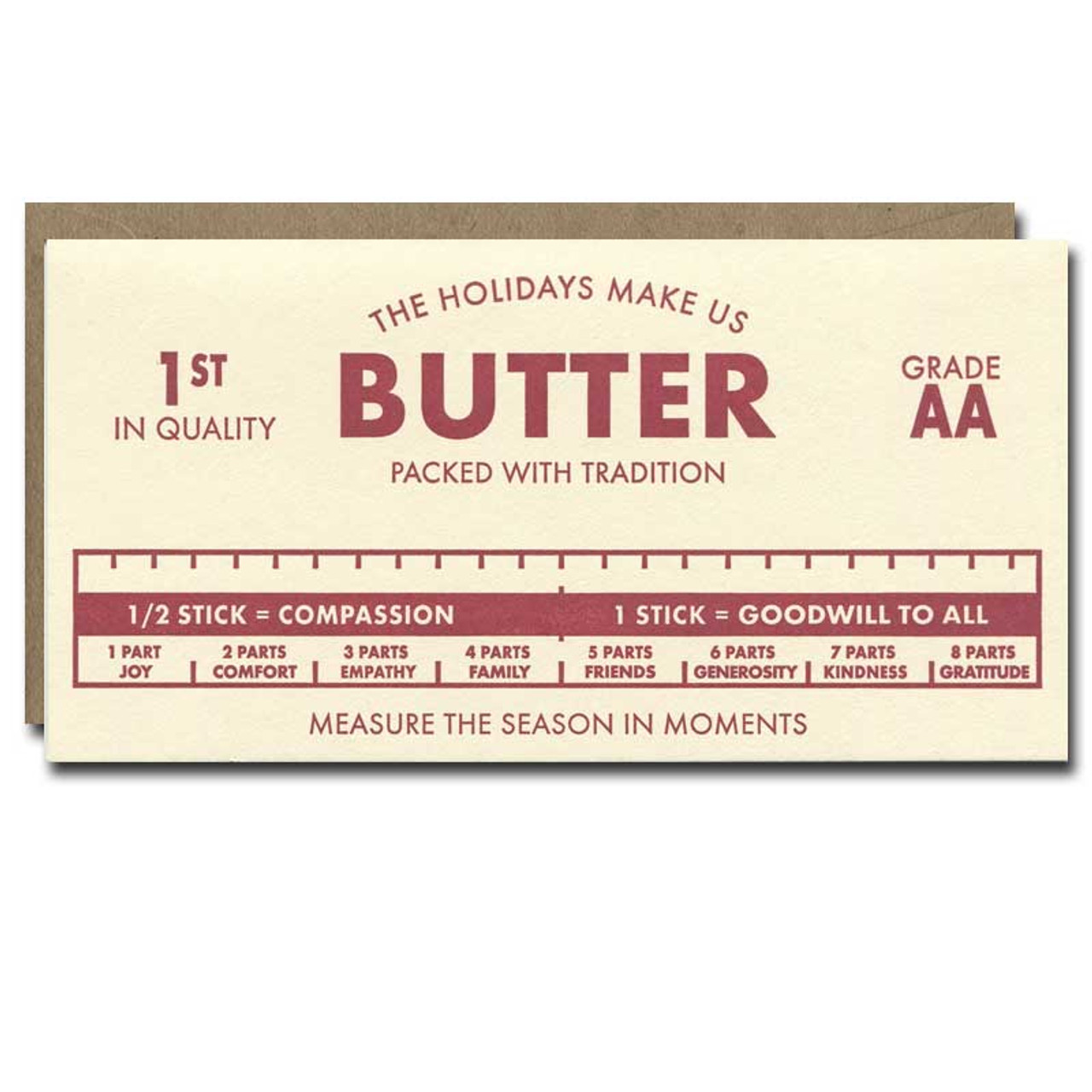 Butter Holiday Card from a. favorite design shows a stick of butter with the words Holidays Make Us Butter, packed with tradition