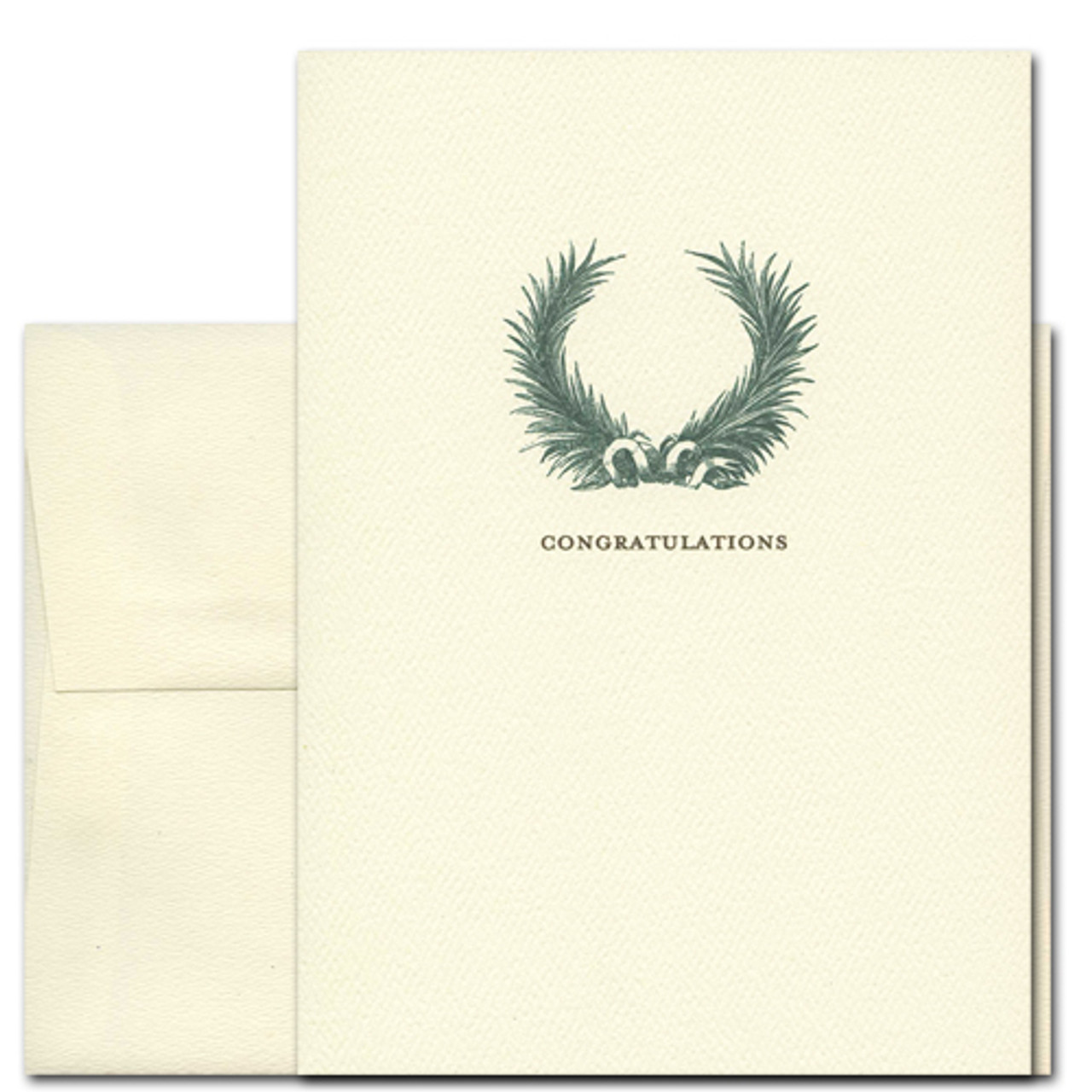 "Congratulations Card with a Laurel Wreath Design over the word ""Congratulations"""