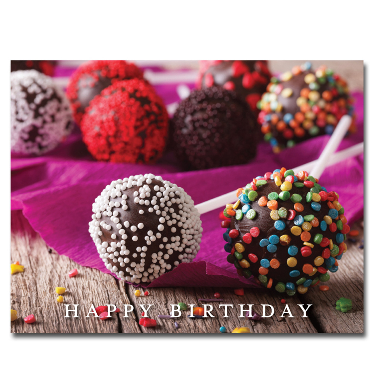 Cake Pops Birthday Postcard Has A Photo Of Decorated And The Words Happy