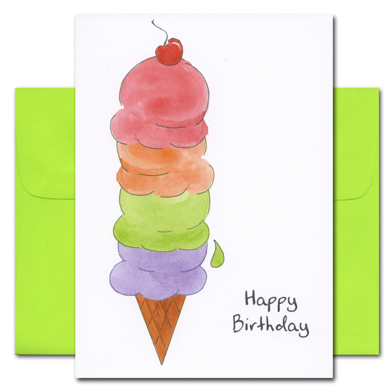 "business birthday card - special treat Cover has a drawing of a cherry topped 4 scoop multi-colored ice cream cone with the words ""Happy Birthday"" in black lettering"