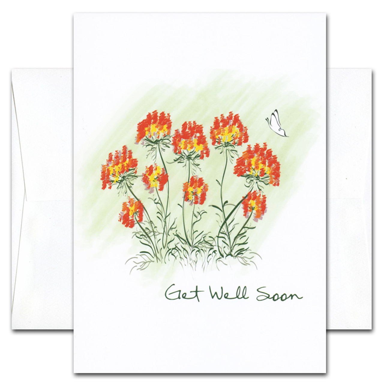 "Get Well Card- Butterfly is an illustration of a multi-flowered plant and a butterfly with the words ""Get Well Soon"" in script"
