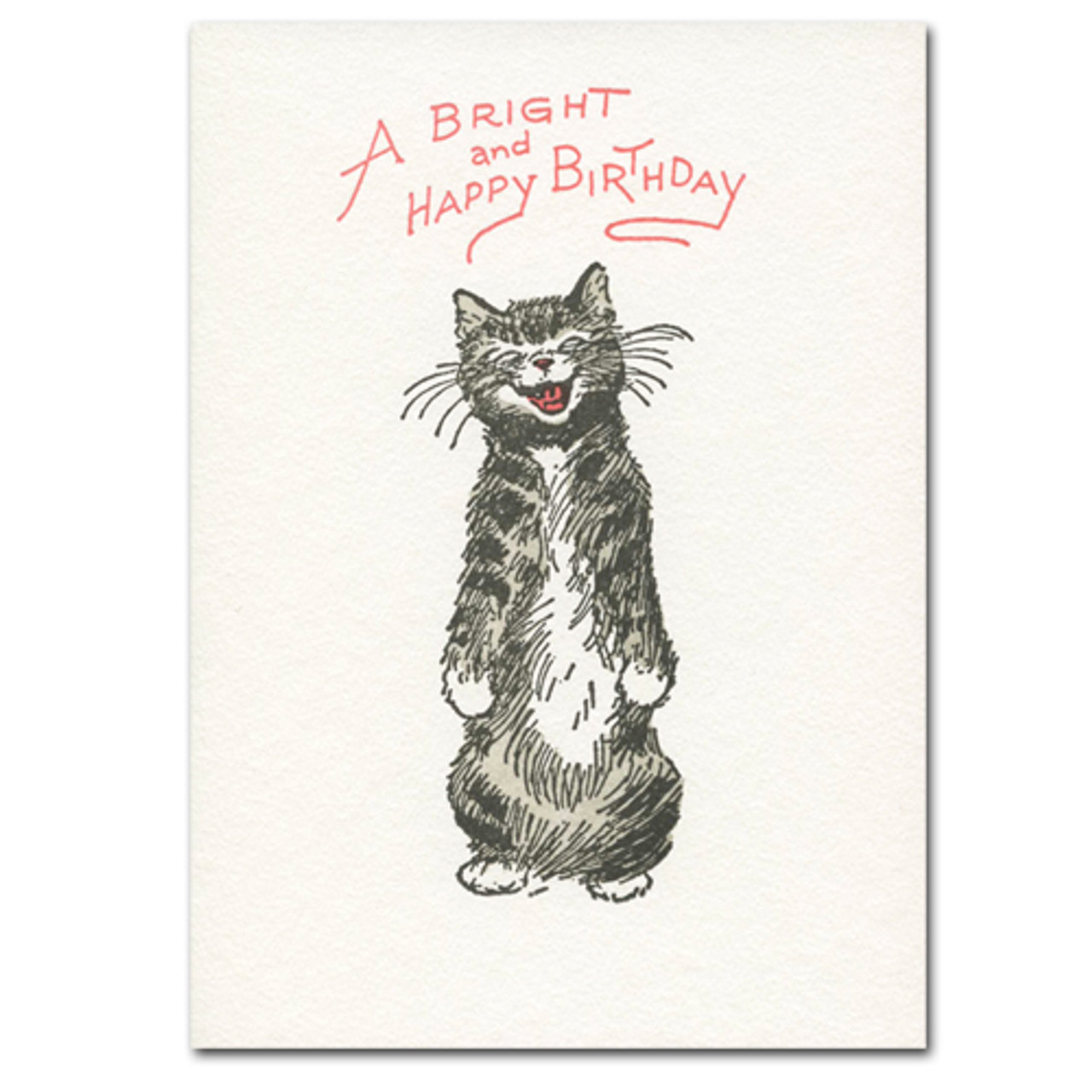 "Saturn Press Birthday greeting card with letterpress drawing of cat with the words ""A Bright and Happy Birthday"""