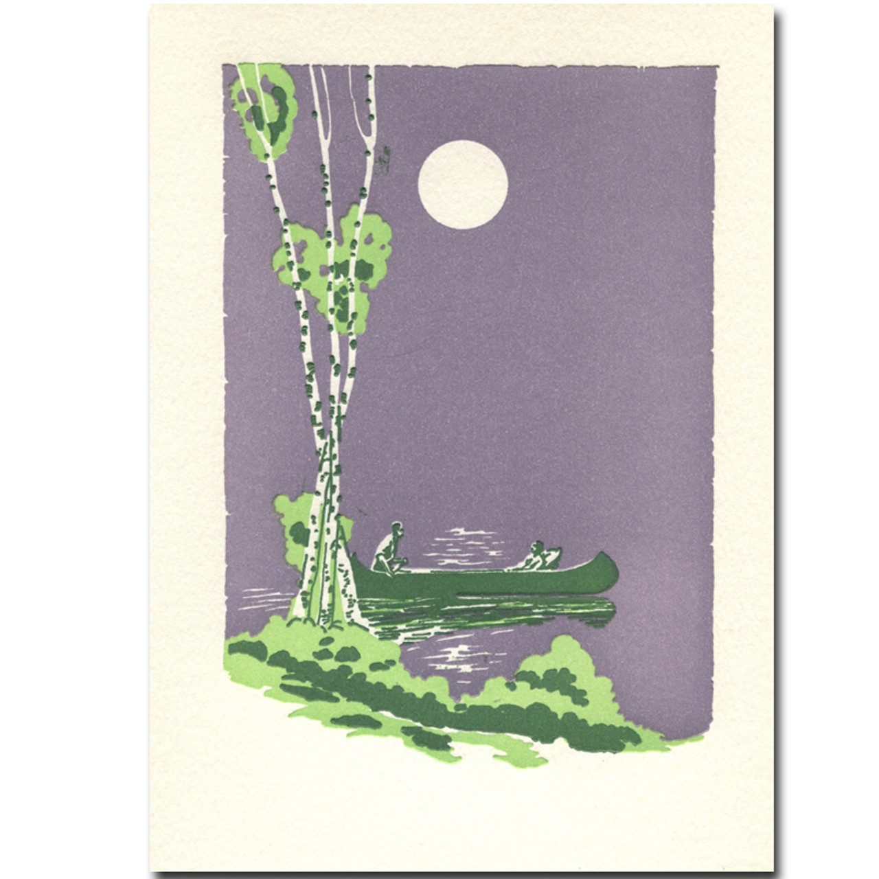 Saturn Press letterpress card, July Night, shows a couple in a canoe on a lake with the summer moon in the sky