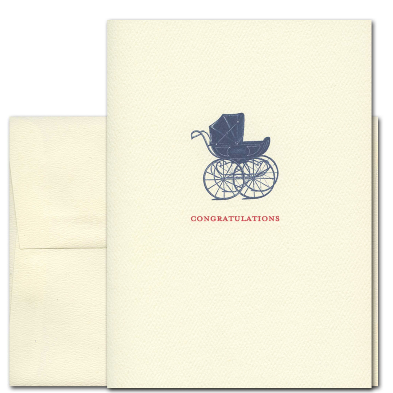 "Baby congratulations card ""Newborn: First Ride"" has a vintage illustration of a baby carriage and underneath the word ""congratulations"" in red letters"