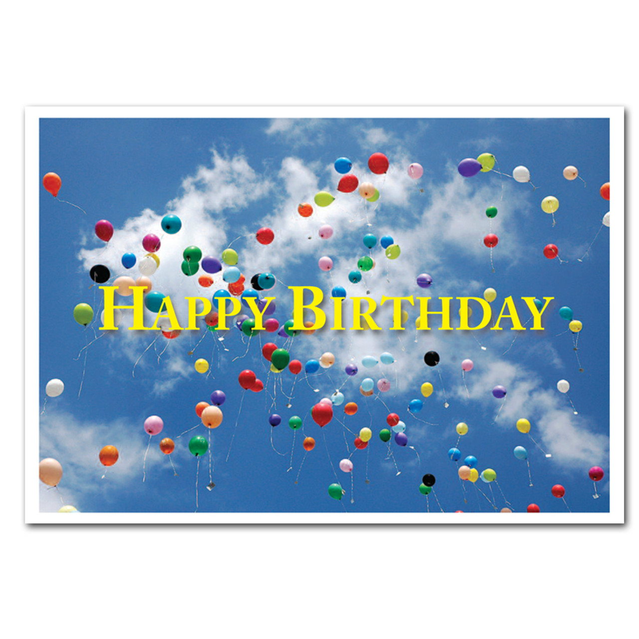 "Boxed Business Birthday Card: Flying Balloons Cover showing many multi-colored balloons flying high into a blue sky with the words ""Happy Birthday"" in big yellow letters"
