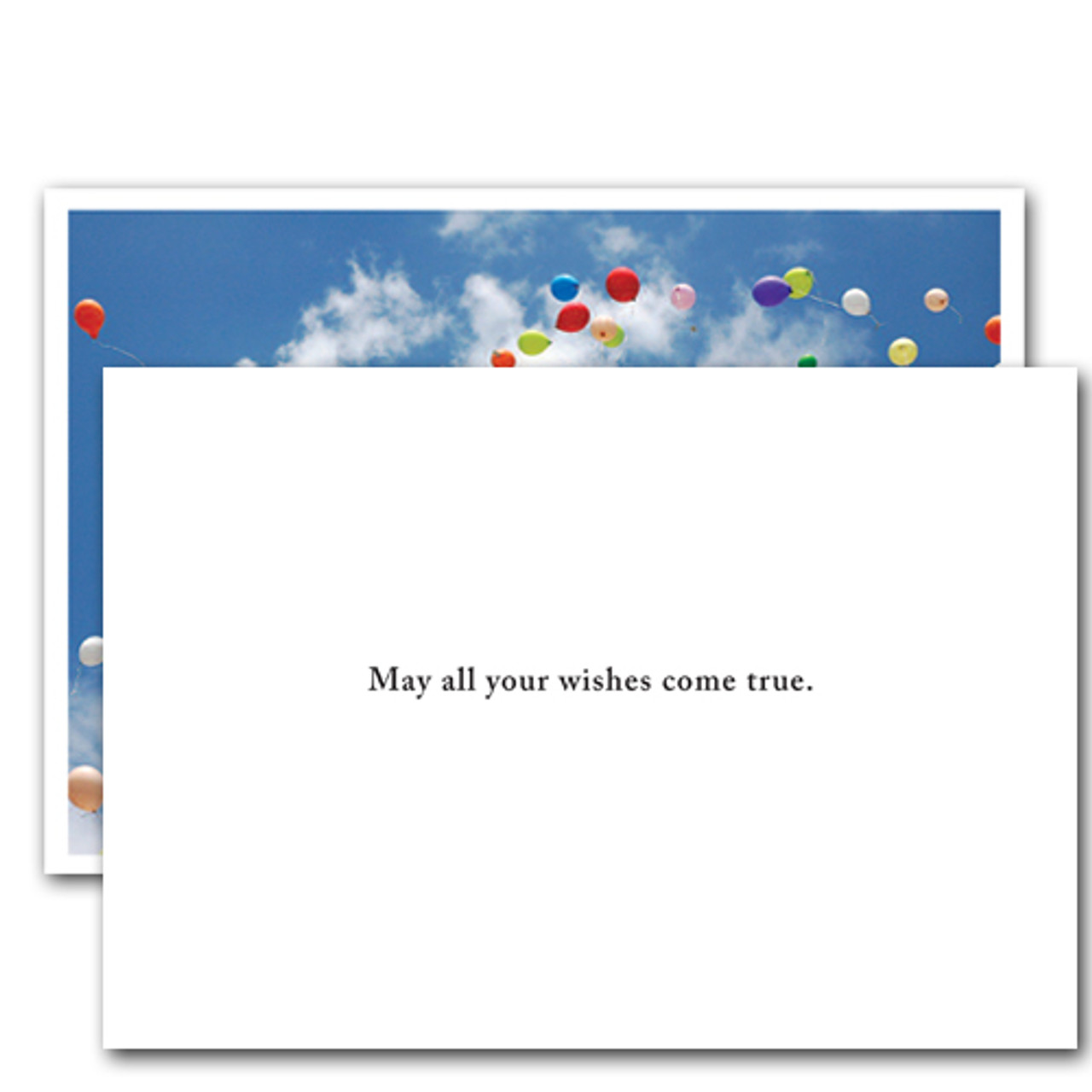 "Inside of business birthday card with a white background and the words ""May All Your Wishes Come True"" in black text"