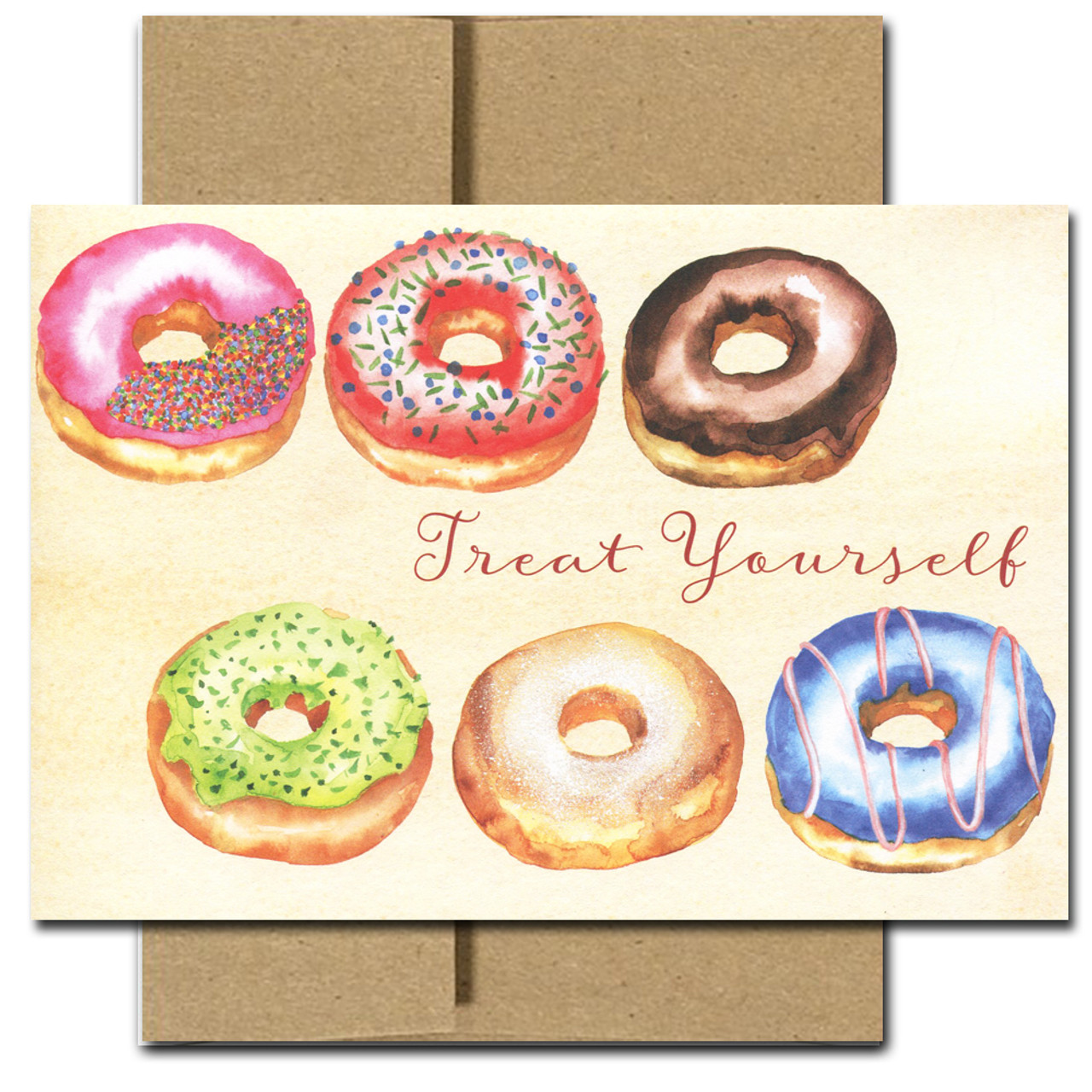 "Boxed Business Birthday Card - Donuts features six frosted donuts and the text, ""Treat Yourself"""