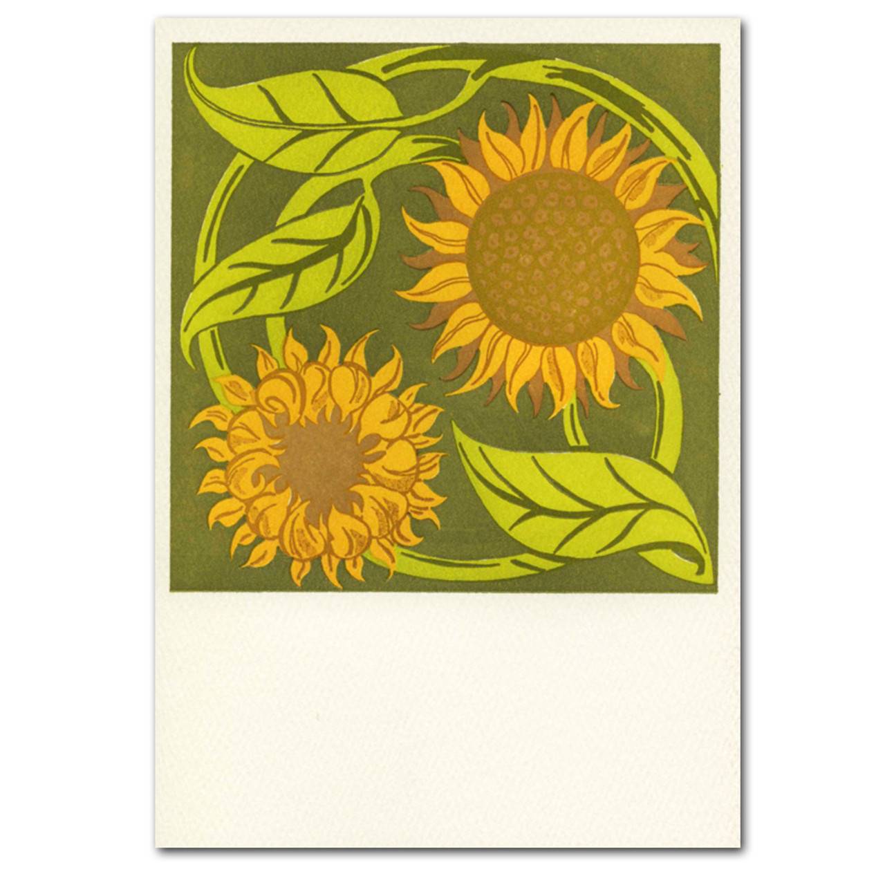 """Saturn Press All Occasion Card """"Sunflowers"""" Cover displays two blooming sunflowers in deep colors."""