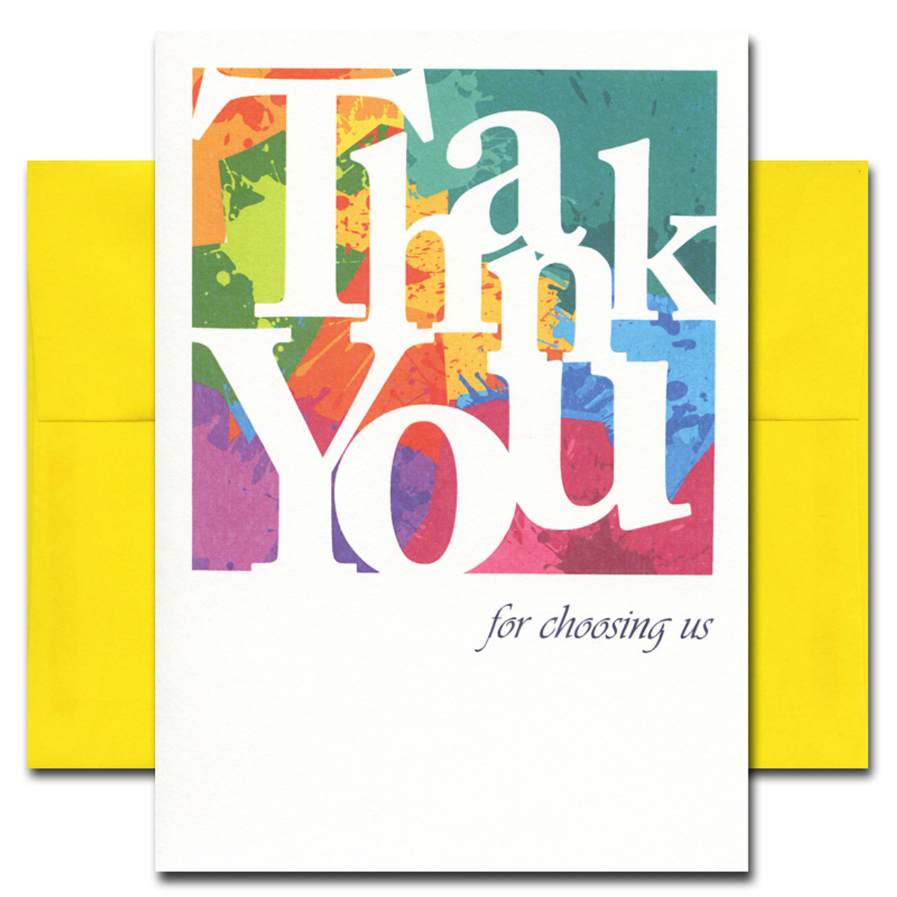 Business Appreciation Card - Color Blocks. Cover reads: Thank You for choosing us