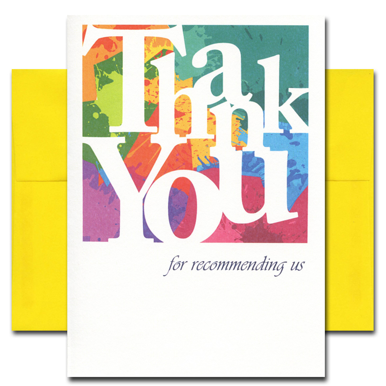 Referral Thank You - Color Blocks. Cover reads: Thank You for recommending us