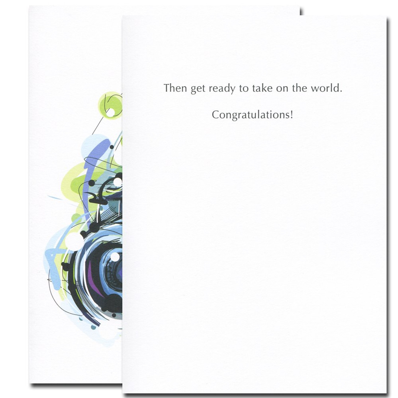 Inside of Take Pictures Congratulations Card reads: Then get ready to take on the world. Congratulations!