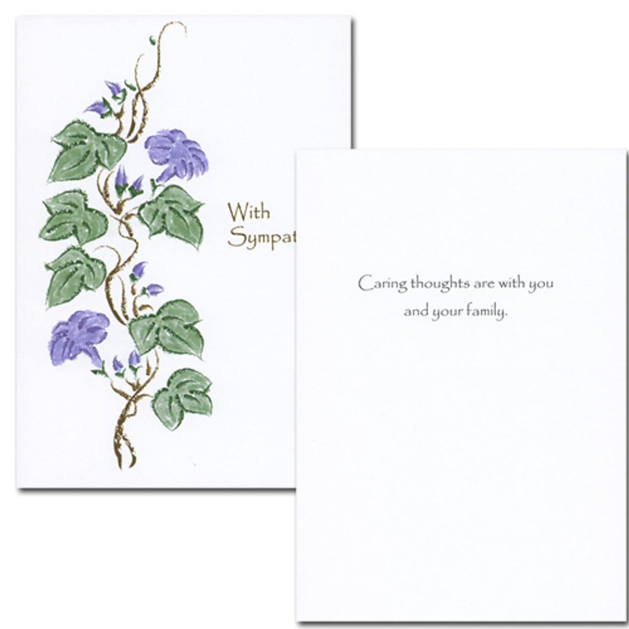 "Sympathy Card Heirloom Vines Inside are the words "" Caring thoughts are with you and your family"""