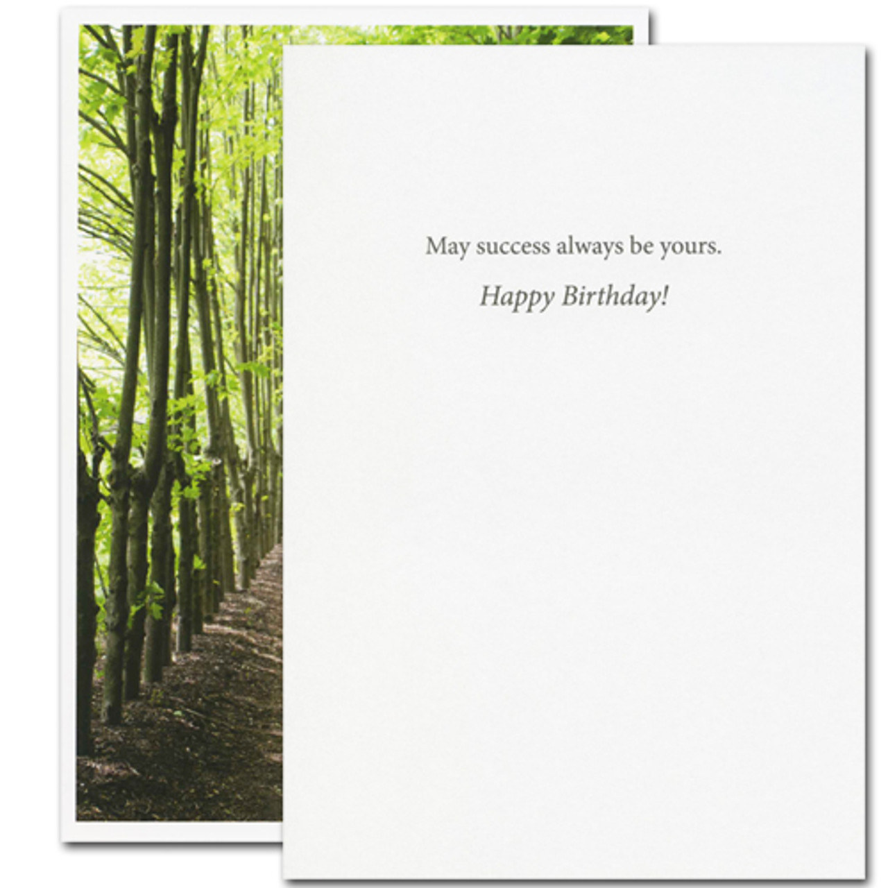 "Cover of Christopher Morley quotation birthday card with photo of people walking in forest and the quotation ""There is only one success- to be able to spend your life in your own way"" Inside message ""may success always be yours. Happy Birthday"""