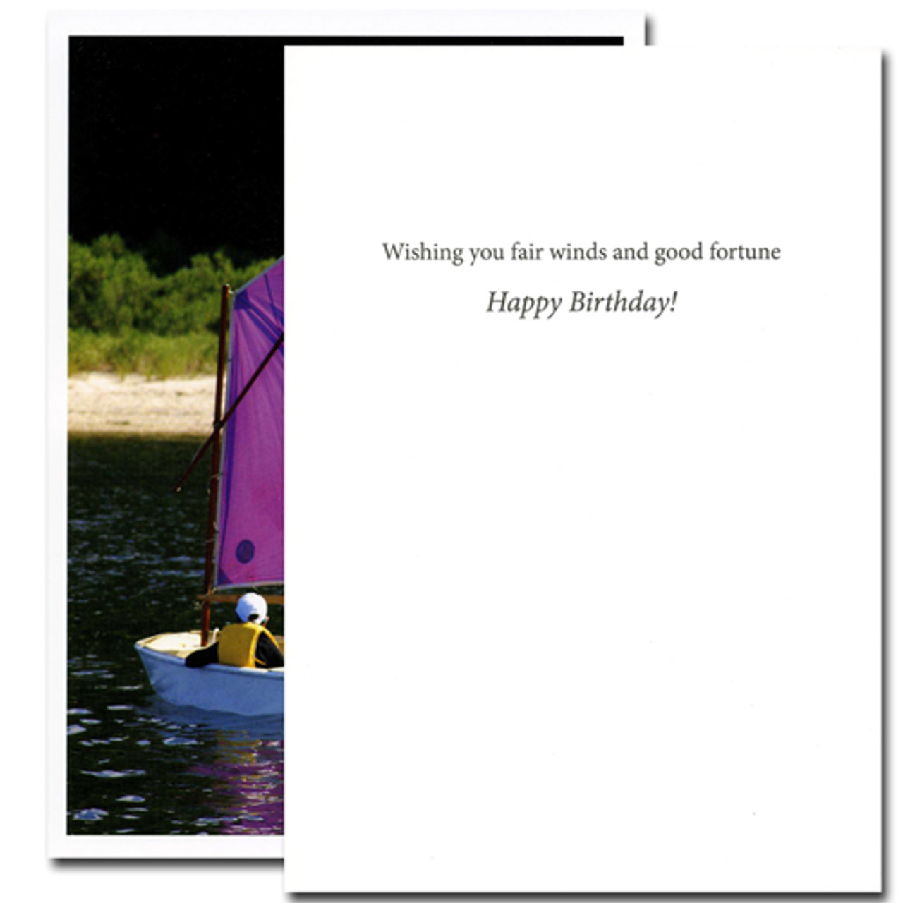 "Boxed Business Birthday Louisa May Alcott Quotation Card-Sail My Ship  cover a picture of a person sailing a small sailboat with the Louisa May Alcott Quotation ""I am not afraid of storms for I am learning how to sail my ship."" Inside of Birthday Card Sail My Ship has the words ""Wishing you fair winds and good fortune Happy Birthday!"""