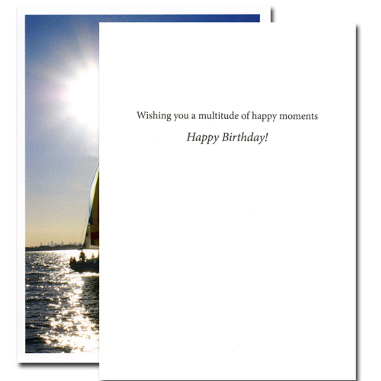 "Boxed Business Birthday Card Happy Moments John Masefield quotation cover with quotation ""Best trust the happy moments- the days that make us happy make us wise"" inside of quotation birthday card with the words ""wishing you a multitude of happy moments- Happy Birthday"" in black text on white background"