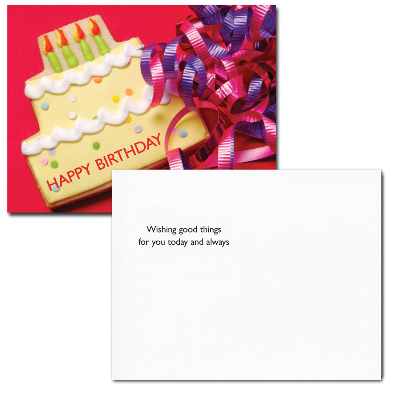 Birthday Postcard Cookie Cake greeting reads: Wishing good things for you today and always