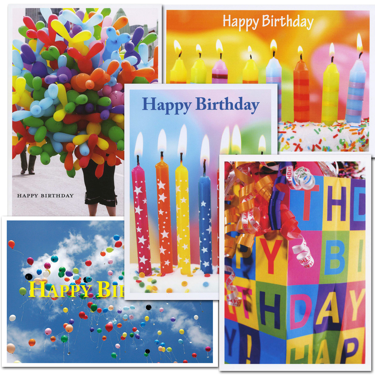 Birthday Cards Essentials Assortment With Bright Photos Of Candles Balloons And Gifts