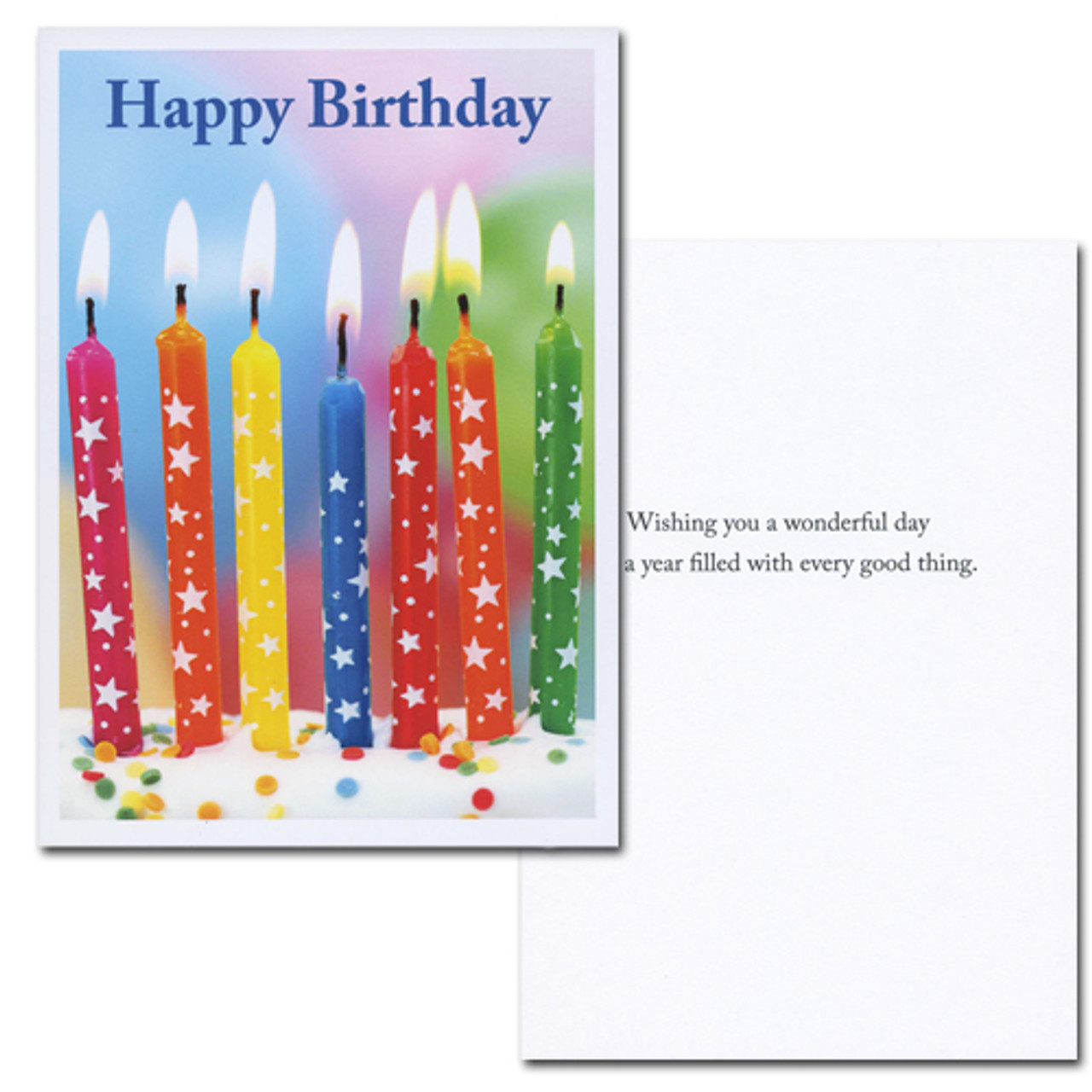 "Inside of business birthday card - star spangled candles with the words ""happy birthday"" superimposed on photo of 7 candles with stars on them on top of a cake. inside of birthday card contains the words ""wishing you a wonderful day and a year filled with every good thing"""