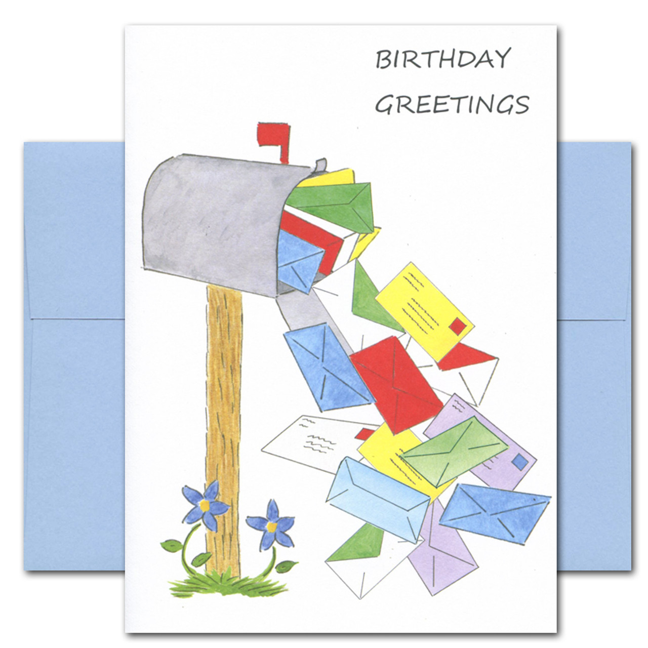 "Boxed Business Birthday Card - Mailbox Multitude cover showing many colored envelopes spilling out of a mail box with the words ""Birthday Greetings"" in large black letters in upper right hand corner"