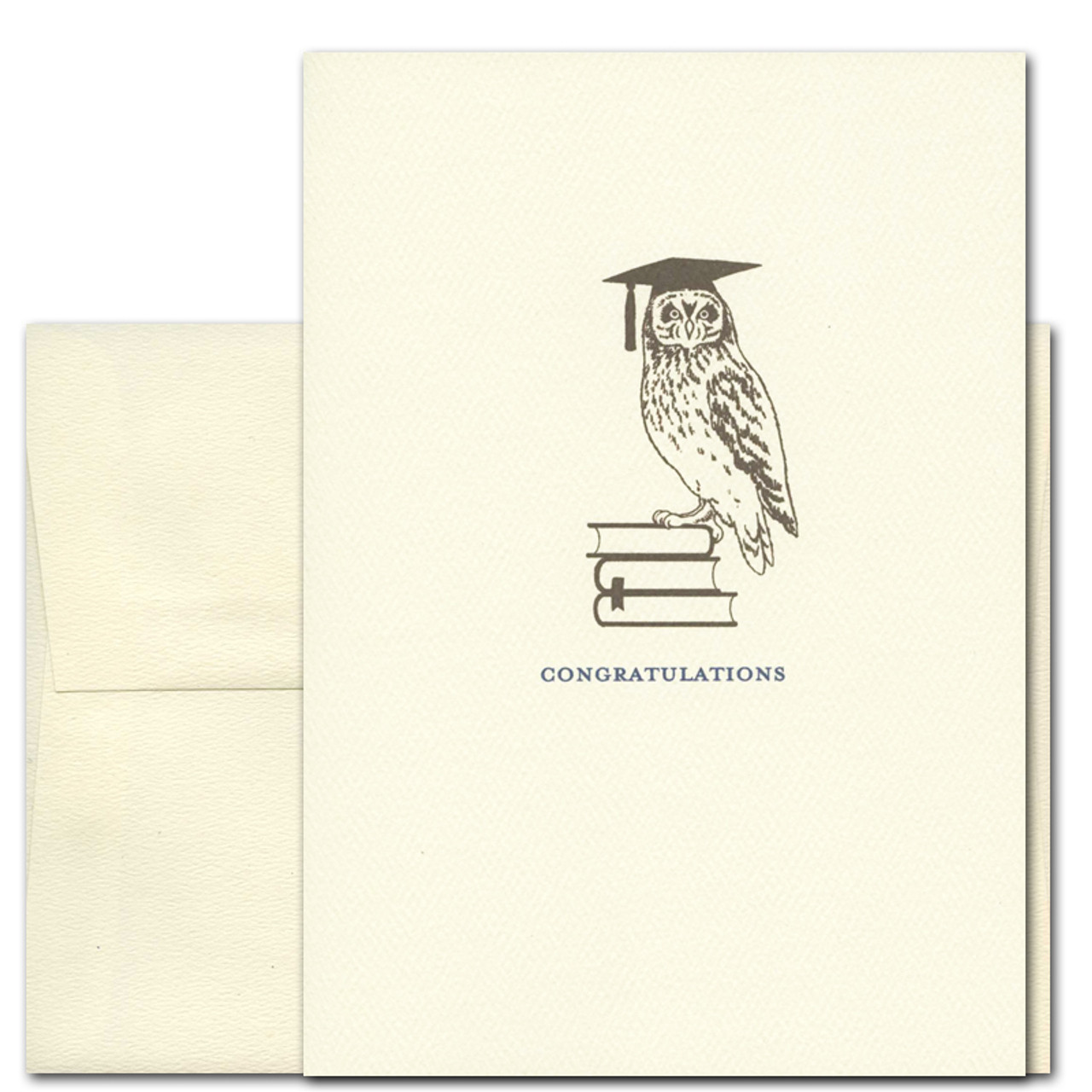 "Cover of Graduation Congratulations Card- ""Ready to Fly"" with image of owl wearing a graduation cap perched on books, with the word ""Congratulations"""