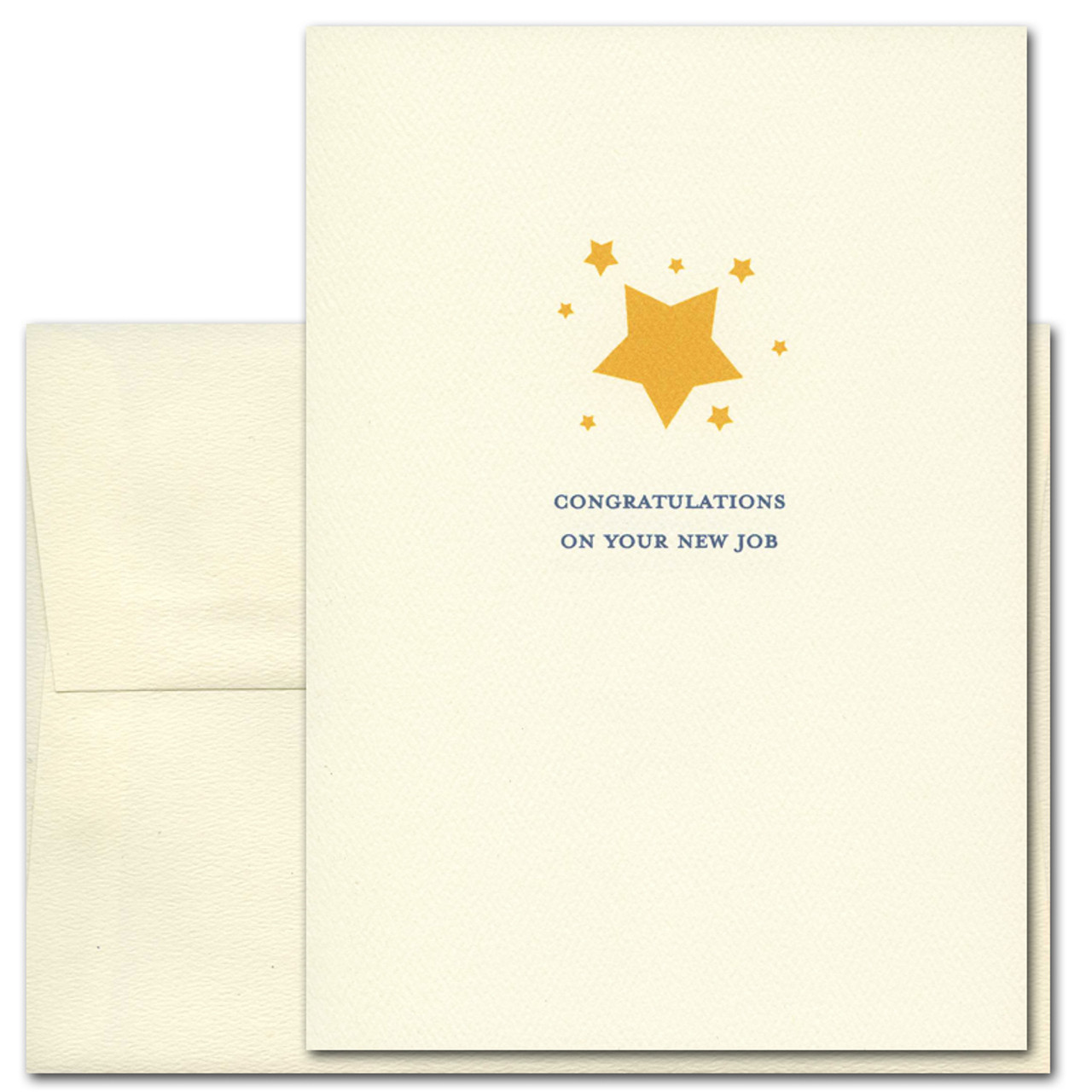 "Cover of Congratulations On Your New Job card Cover shows multiple illustrations of gold colored stars with the words ""Congratulations On Your New Job"" in blue"