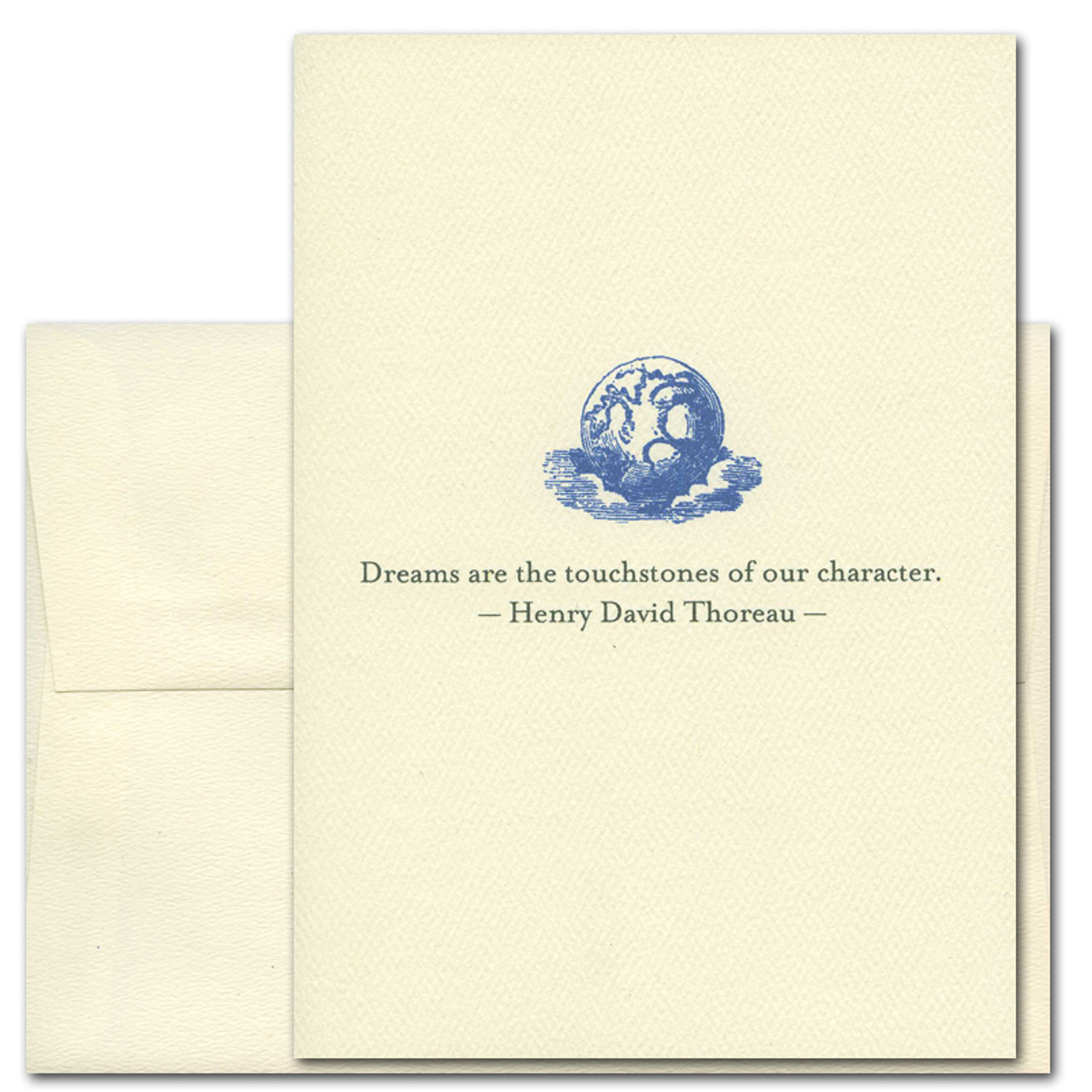 """Quotation Card """"Dreams: Thoreau"""" Cover shows a vintage illustration of a moon sitting on clouds with a quote from Henry David Thoreau that reads: """"Dreams are the touchstones of our character."""""""