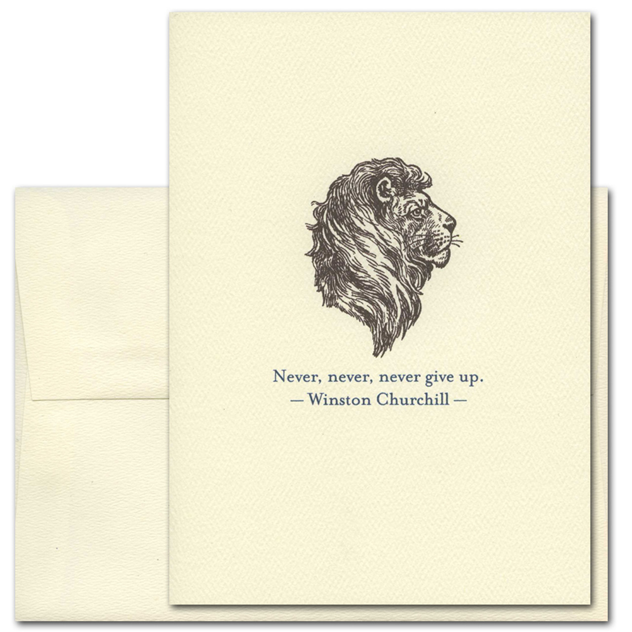 """Quotation Card """"Never Give Up: Churchill"""" Cover shows old fashioned illustration of a lion with a quote from Winston Churchill that reads: """"Never, never, never give up"""""""