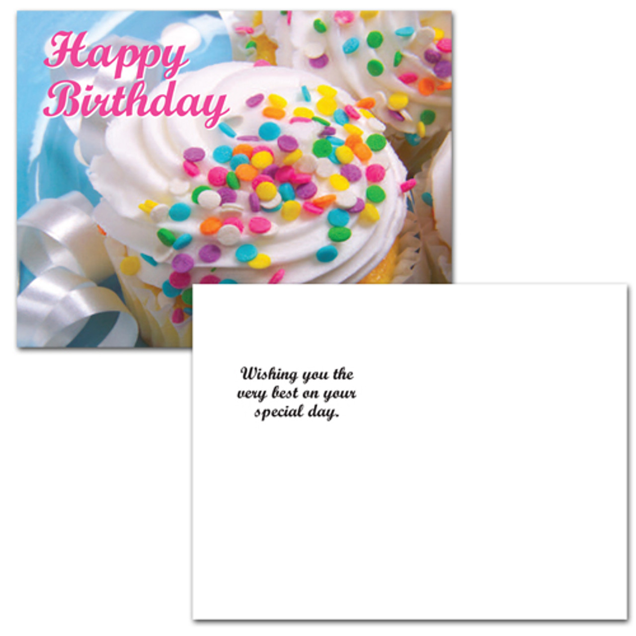 "Birthday postcard ""Confetti Cupcakes"" on the reverse side has the message ""wishing you the very best on your special day"", with room for name, address and space to write in a birthday greeting appropriate for business, corporate or school-student use."