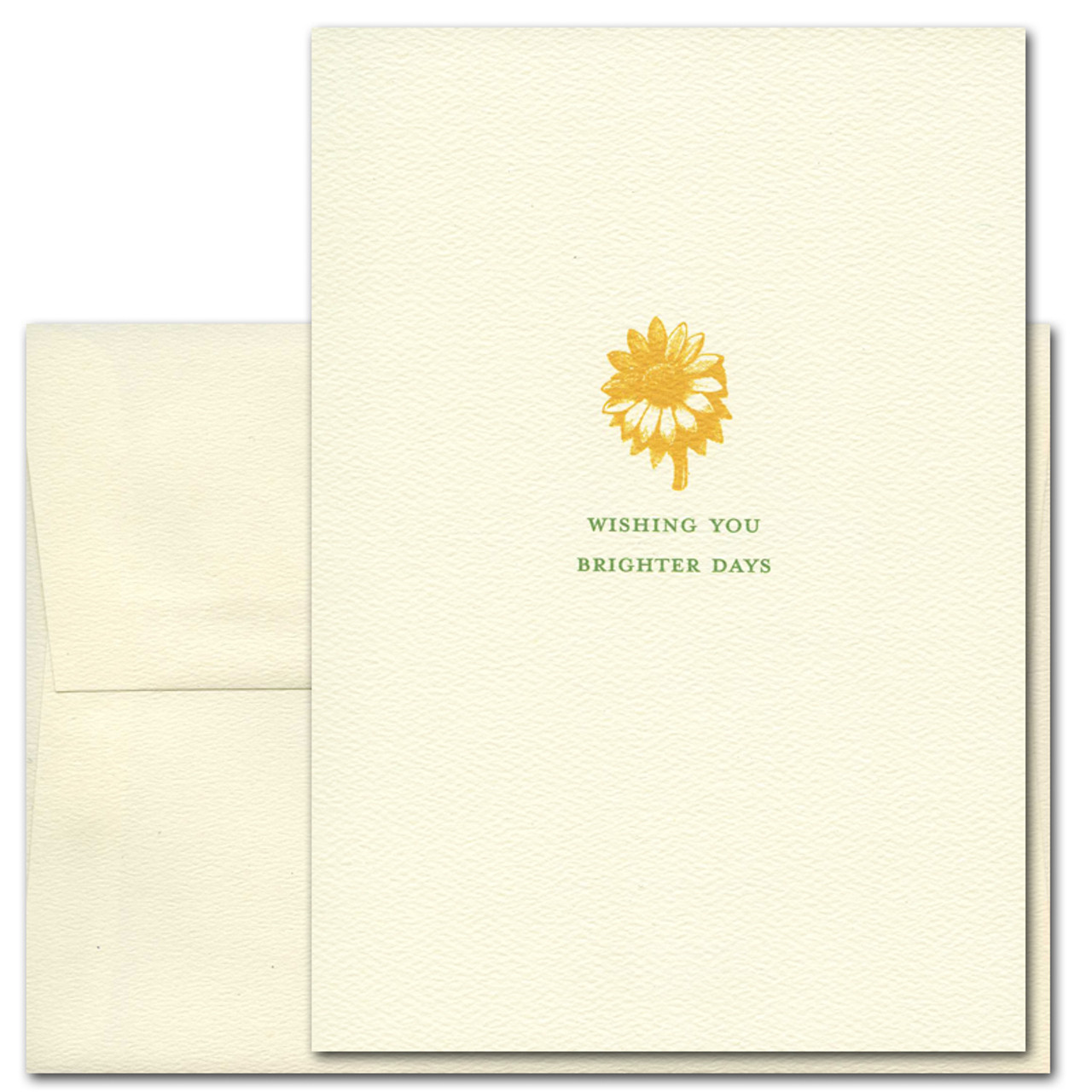 "Get Well Card- Wishing You cover has a vintage illustration of a flower above the words ""wishing you brighter days"""
