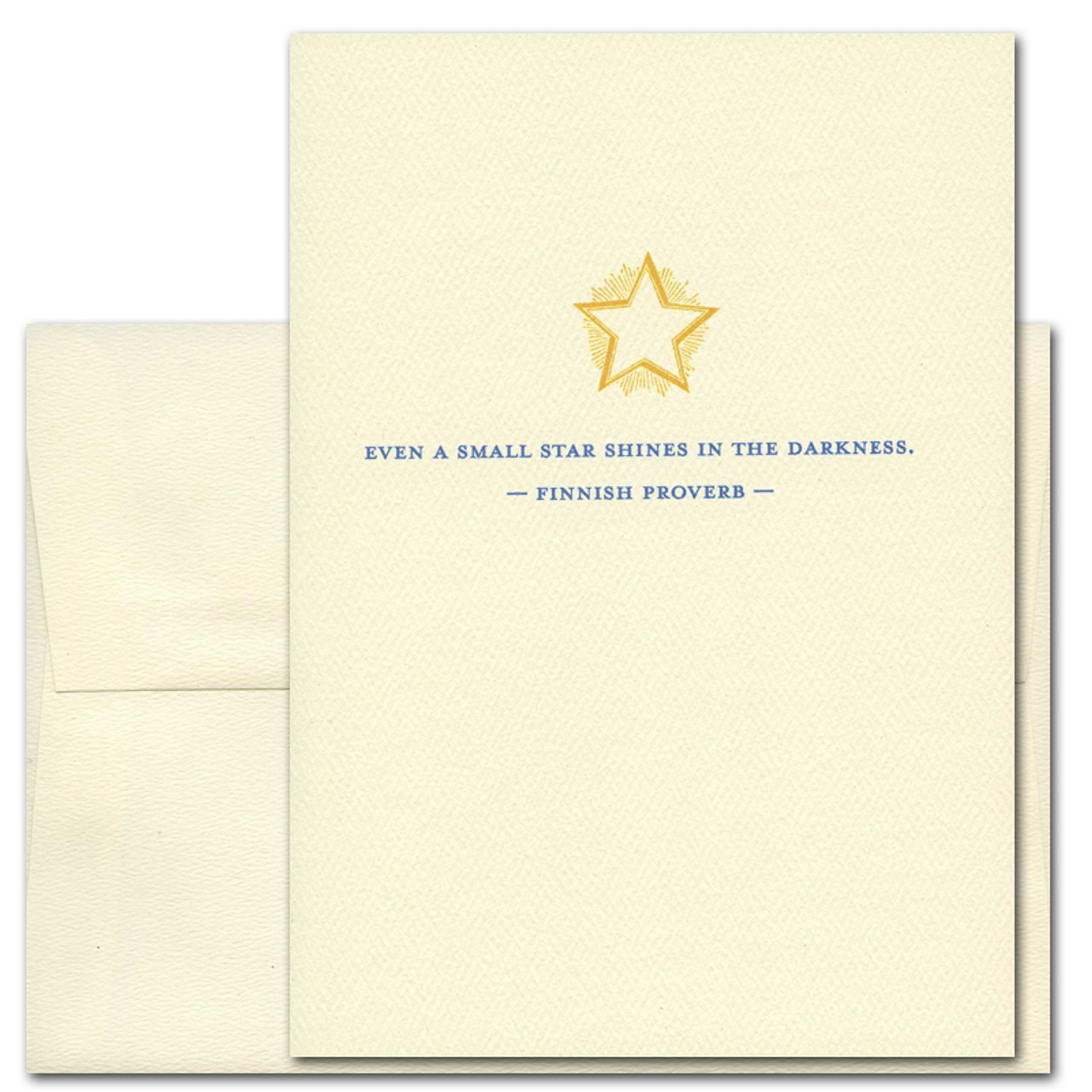 """Quotation Card """"Small Star: Finnish Proverb"""" Cover shows vintage style illustration of a golden star with the Finnish proverb: """"Even a small star shines in the darkness."""""""